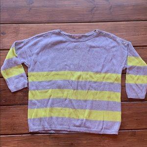 Gap gray yellow stripe sweater